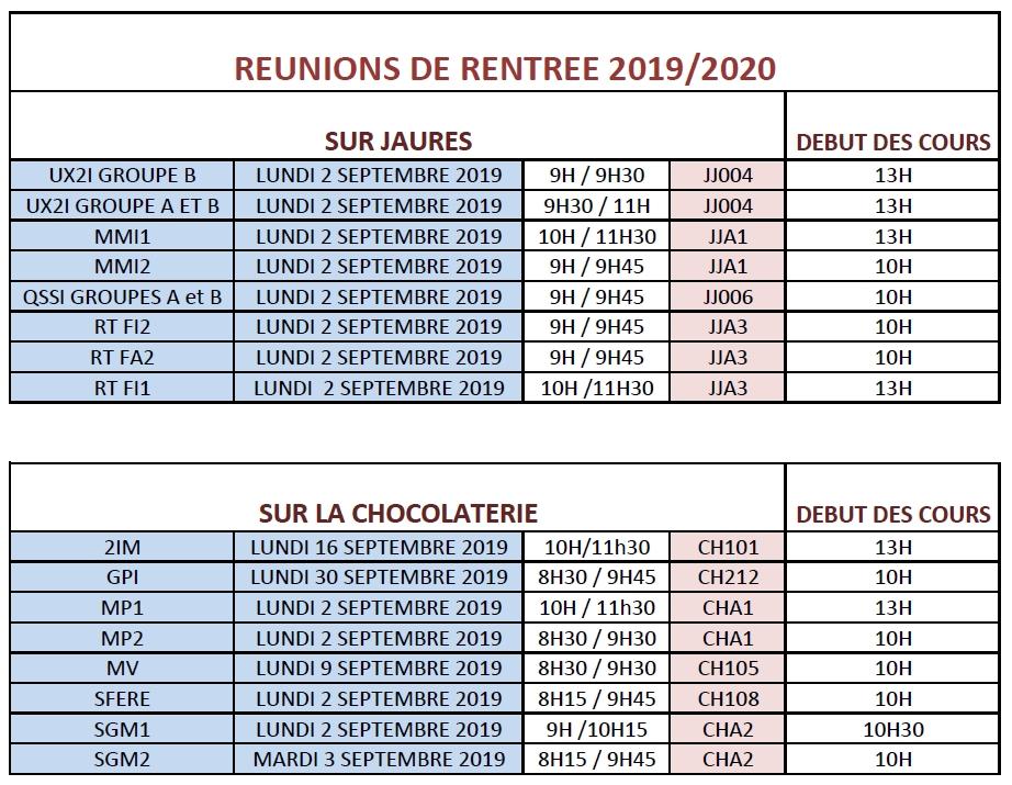CALENDRIER RENTREE 2019-2020